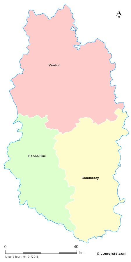 Fond de carte arrondissements 2018 de la Meuse