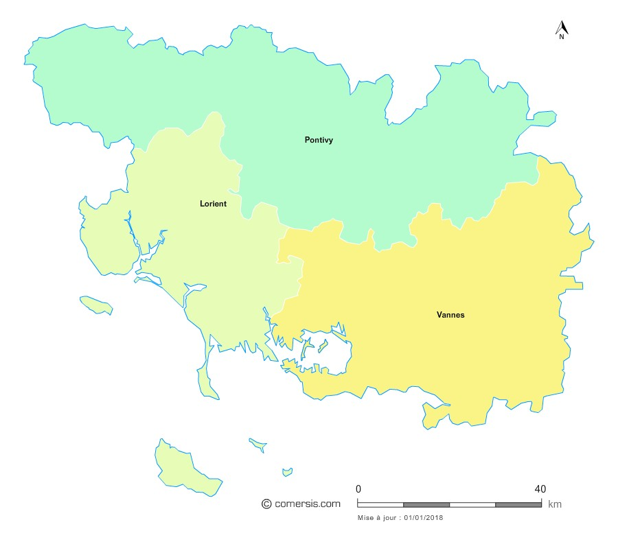 Fond de carte arrondissements 2018 du Morbihan