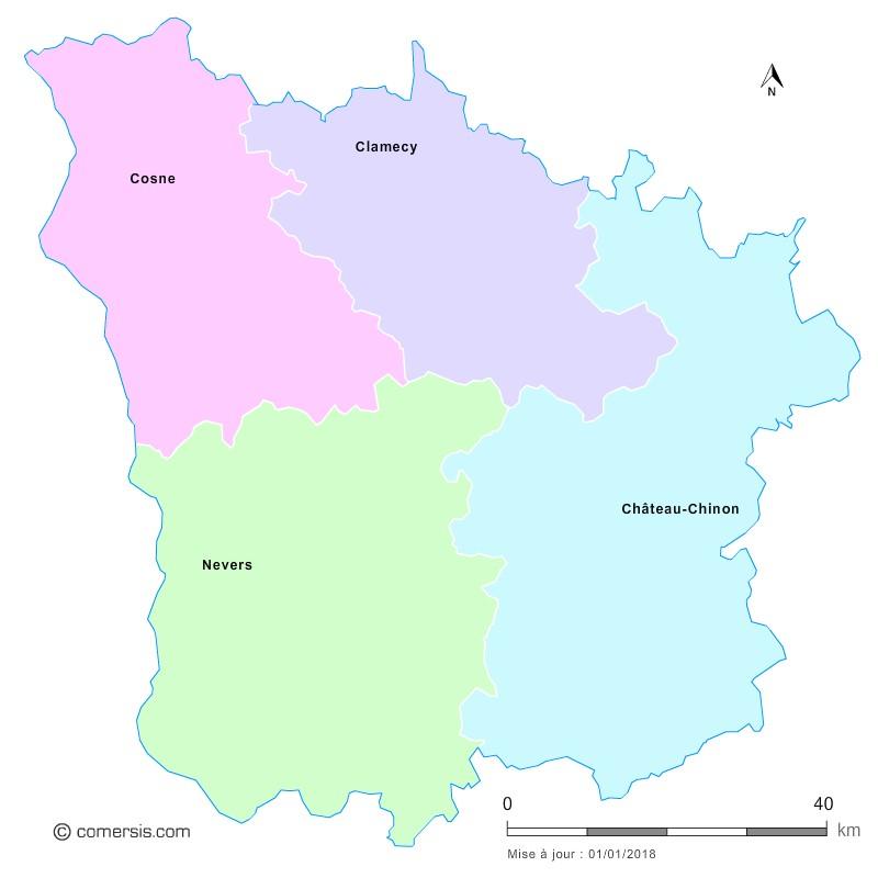 Fond de carte arrondissements 2018 de la Nièvre