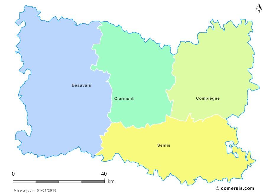 Fond de carte arrondissements 2018 de l'Oise