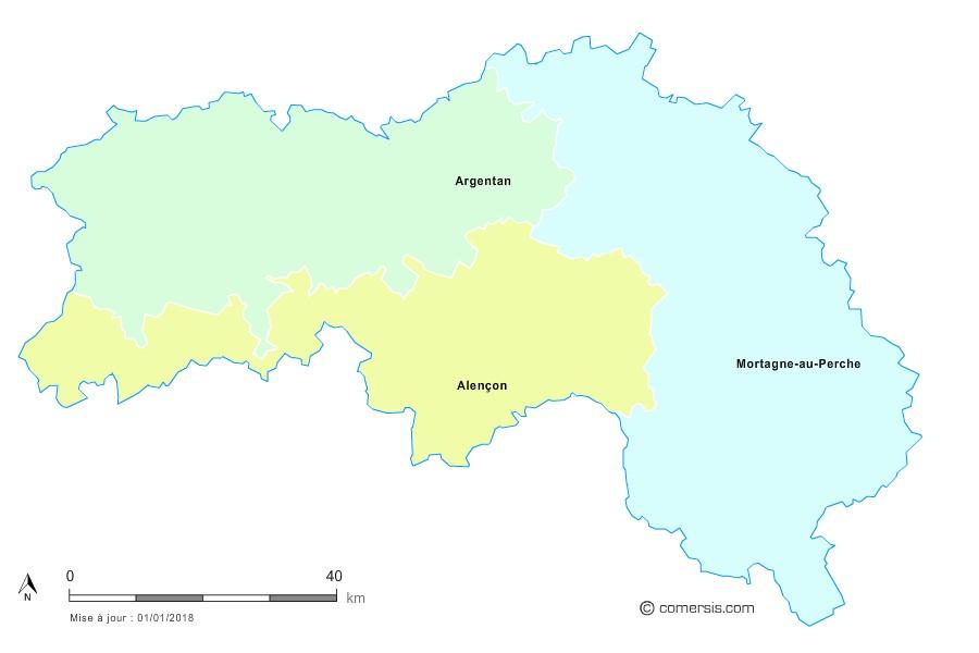 Fond de carte arrondissements 2018 de l'Orne