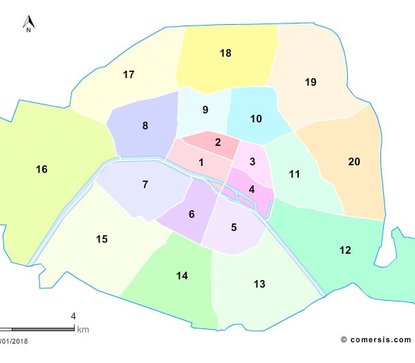 Fond de carte arrondissements de Paris