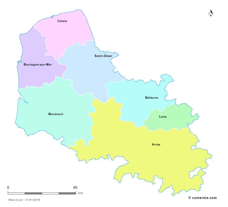 Fond de carte arrondissements 2018 du Pas-de-Calais