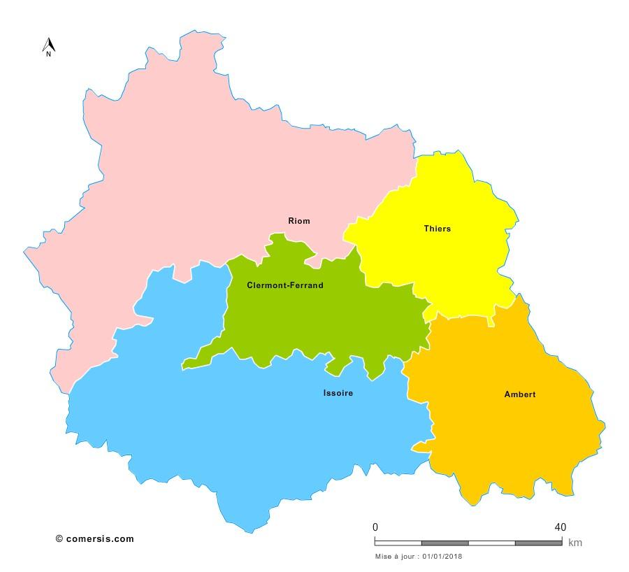 Fond de carte arrondissements 2018 du Puy-de-Dôme