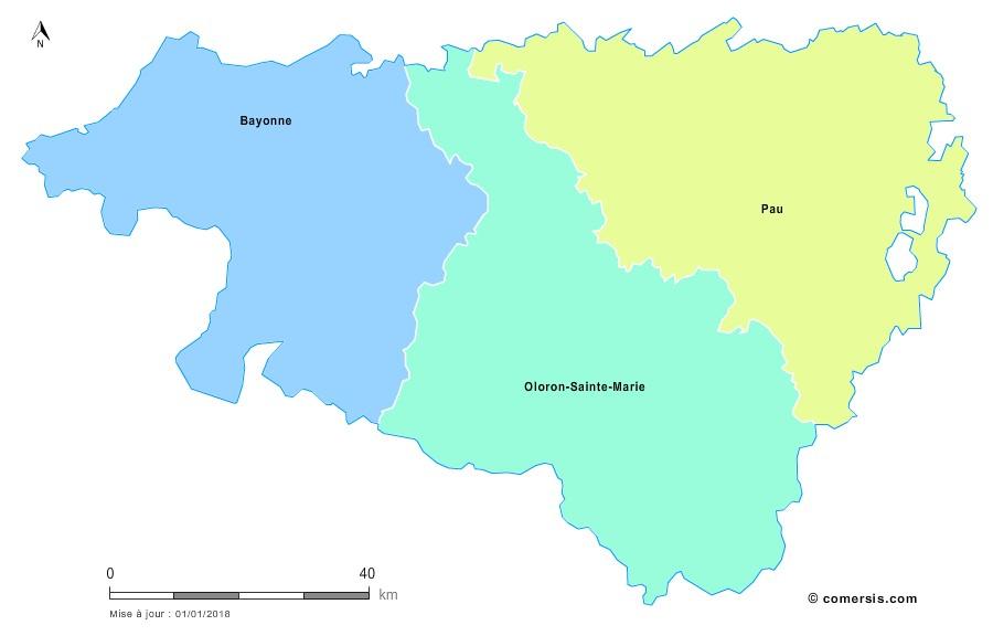 Fond de carte arrondissements 2018 des Pyrénées-Atlantiques