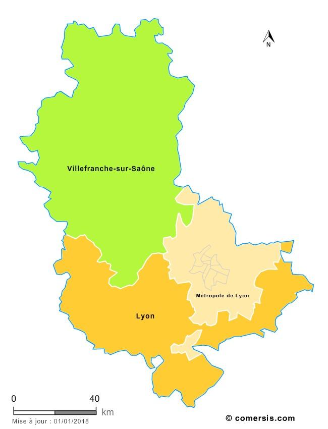 Fond de carte arrondissements 2018 du Rhône