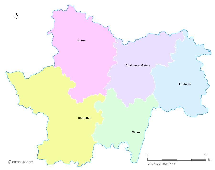 Fond de carte arrondissements 2018 de Saône-et-Loire