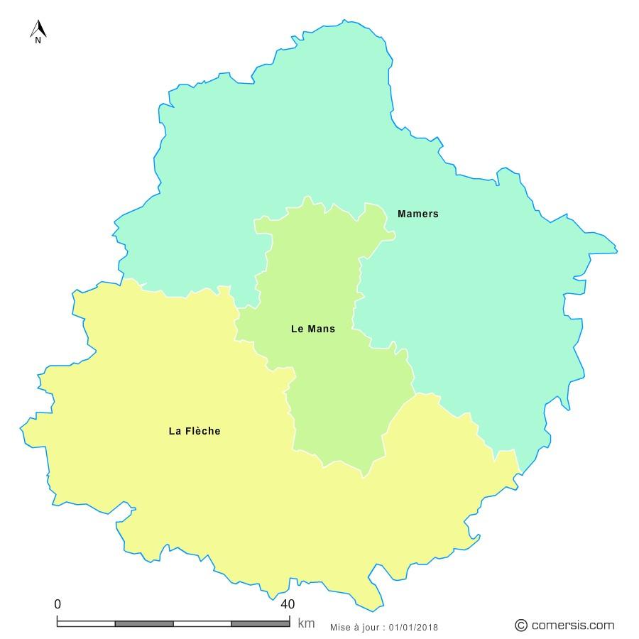 Fond de carte arrondissements 2018 de la Sarthe
