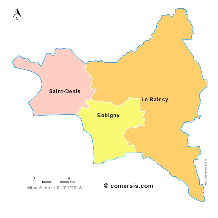 Fond de carte arrondissements 2018 de la Seine-Saint-Denis