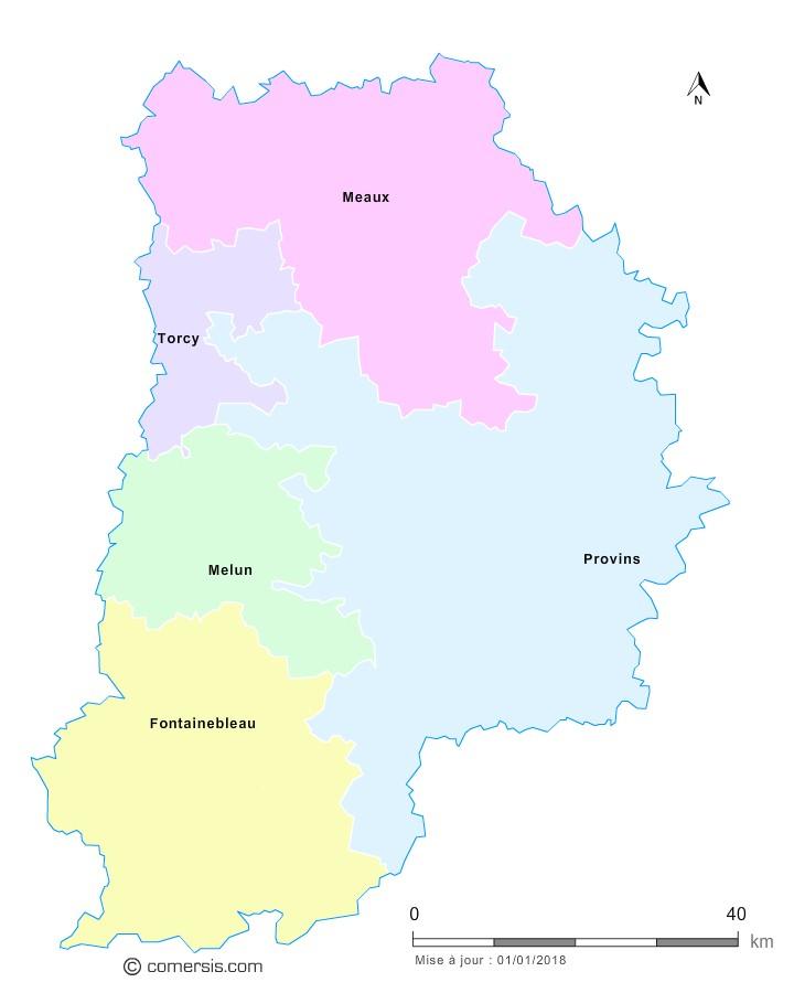 Fond de carte arrondissements 2018 de Seine-et-Marne