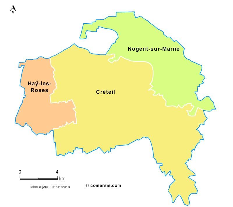 Fond de carte arrondissements 2018 du Val-de-Marne