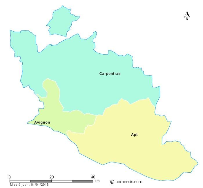 Fond de carte arrondissements 2018 de Vaucluse