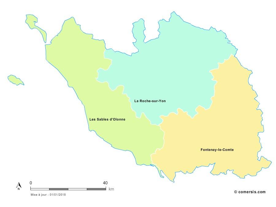 Fond de carte arrondissements 2018 de la Vendée