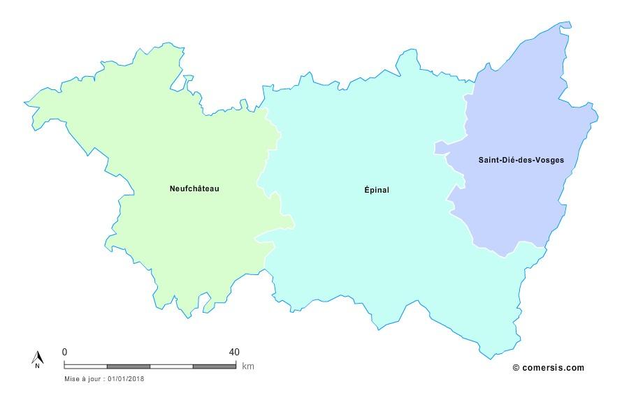 Fond de carte arrondissements 2018 des Vosges