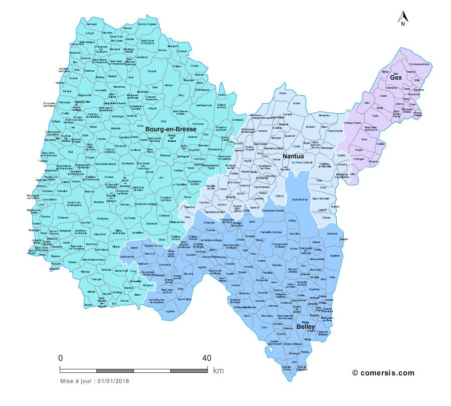 Communes et arrondissements 2018 de l'Ain