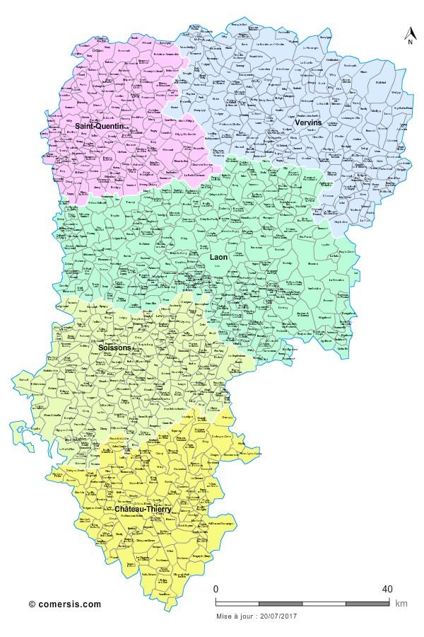 Carte des nouveaux arrondissements de l'Aisne avec communes