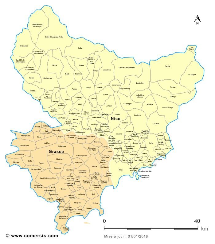 Carte des nouveaux arrondissements des Alpes-Maritimes avec communes