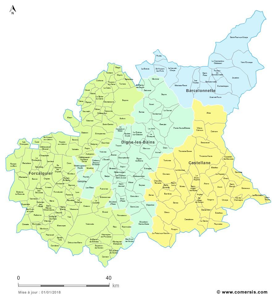 Carte des nouveaux arrondissements des Alpes-de-Haute-Provence avec communes