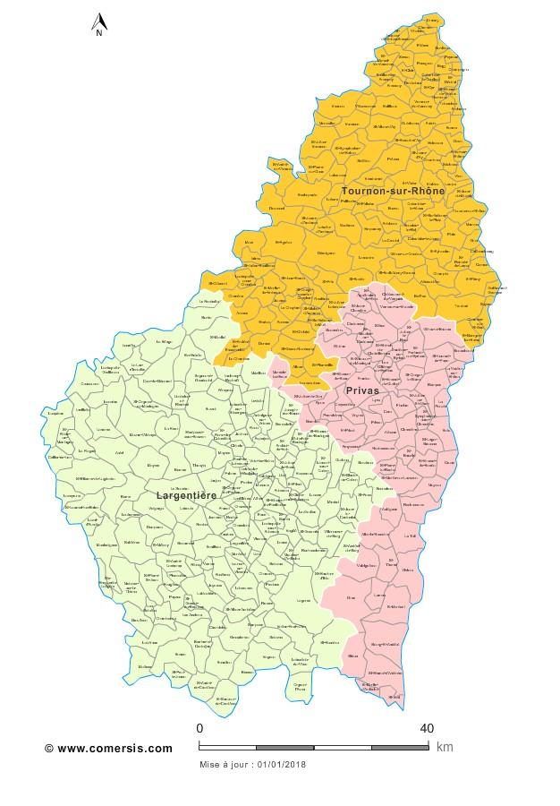Communes et arrondissements 2018 de l'Ardèche