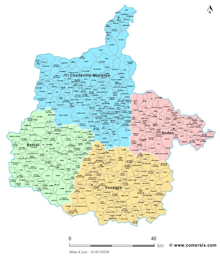 Carte des nouveaux arrondissements des Ardennes avec communes