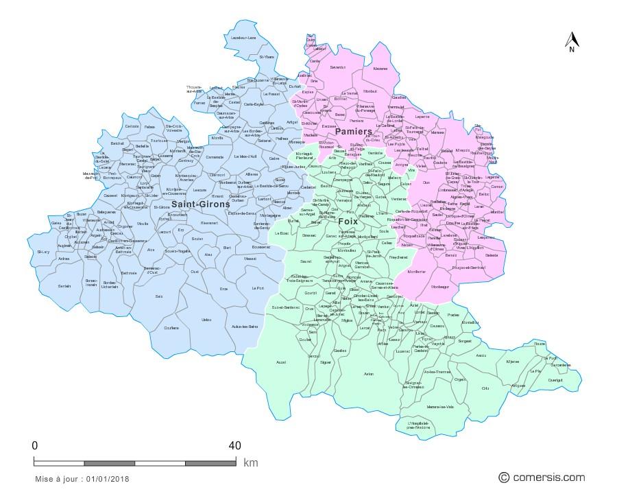 Carte des nouveaux arrondissements de l'Ariège avec communes