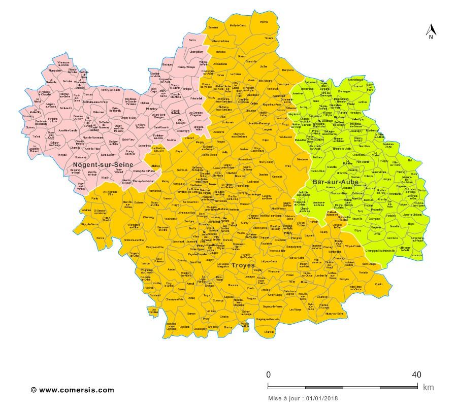 Communes et arrondissements 2018 de l'Aube
