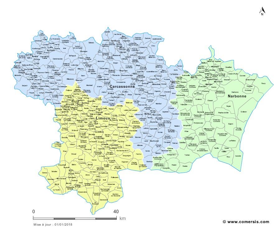 Carte des nouveaux arrondissements de l'Aude avec communes