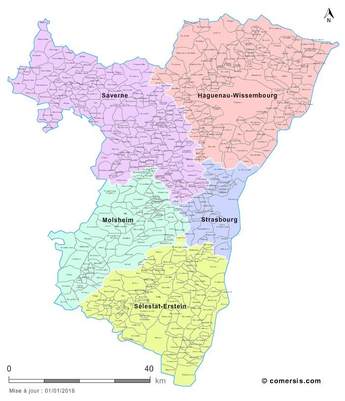 Carte des nouveaux arrondissements du Bas-Rhin avec communes