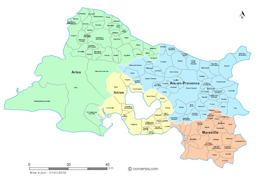 Carte des nouveaux arrondissements des Bouches-du-Rhône avec communes