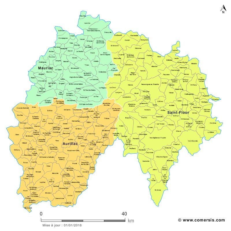 Carte des nouveaux arrondissements du Cantal avec communes