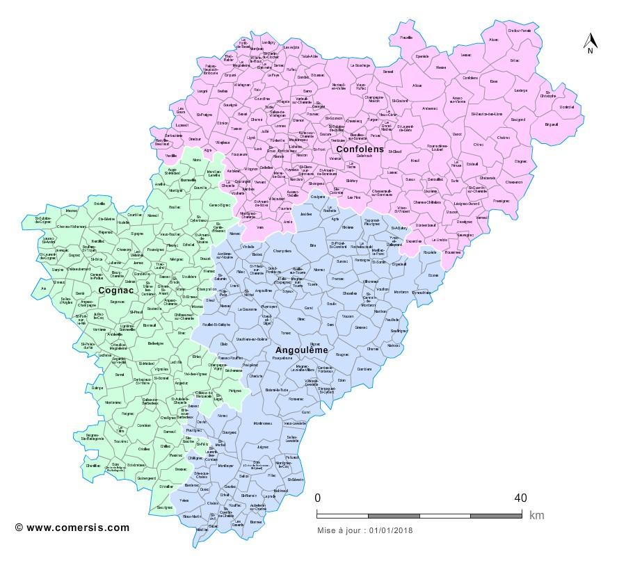 Communes et arrondissements 2018 de la Charente