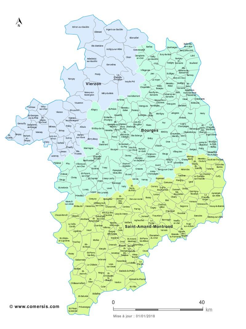 Carte des nouveaux arrondissements du Cher avec communes
