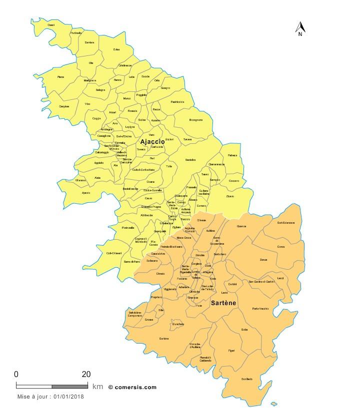 Carte des nouveaux arrondissements de la Corse-du-Sud avec communes