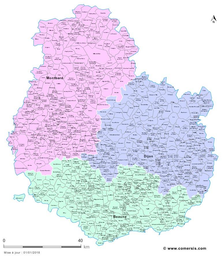 Carte des nouveaux arrondissements de la Côte-d'Or avec communes