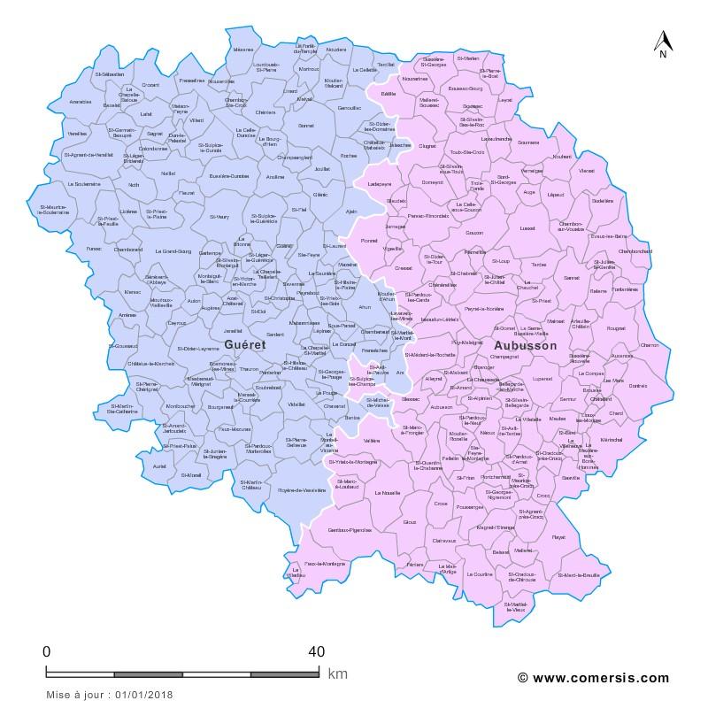 Communes et arrondissements 2018 de la Creuse