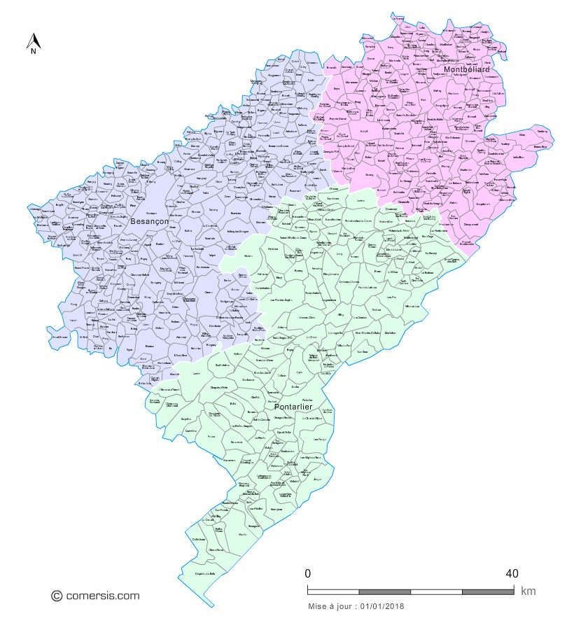 Communes et arrondissements 2018 du Doubs