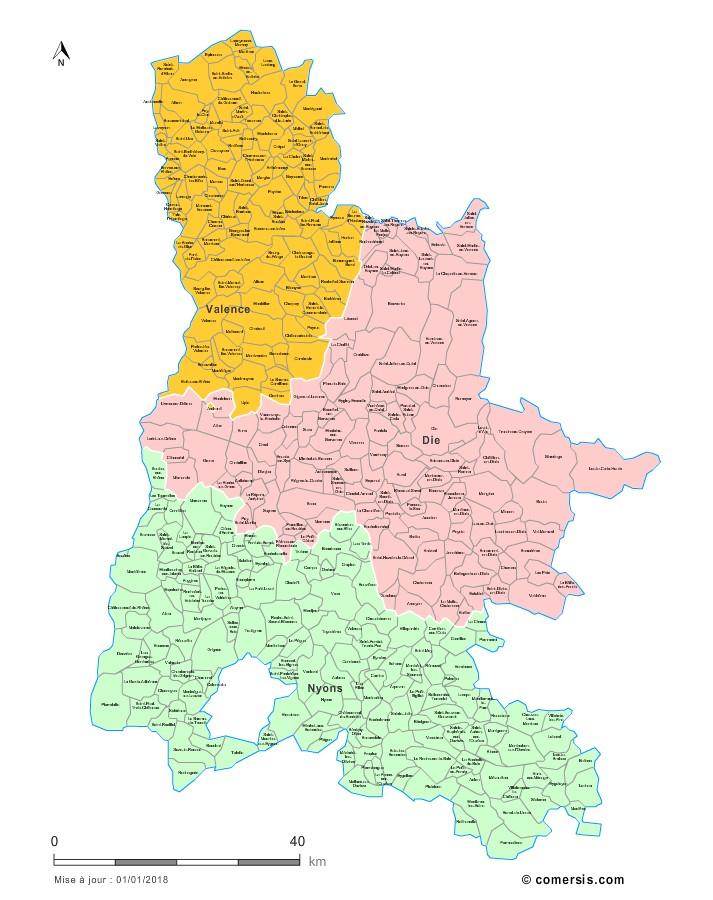 Communes et arrondissements 2018 de la Drôme