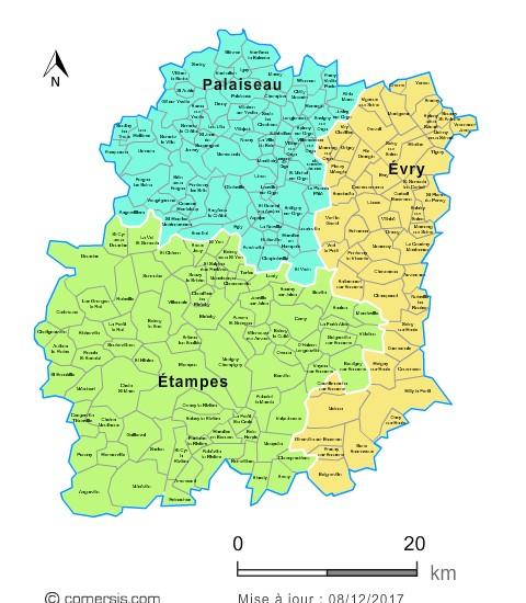 Carte des nouveaux arrondissements de l'Essonne avec communes