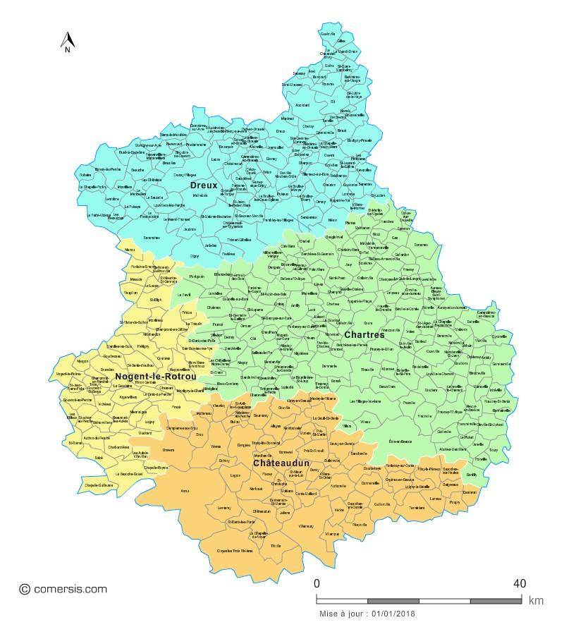 Communes et arrondissements 2018 d'Eure-et-Loir