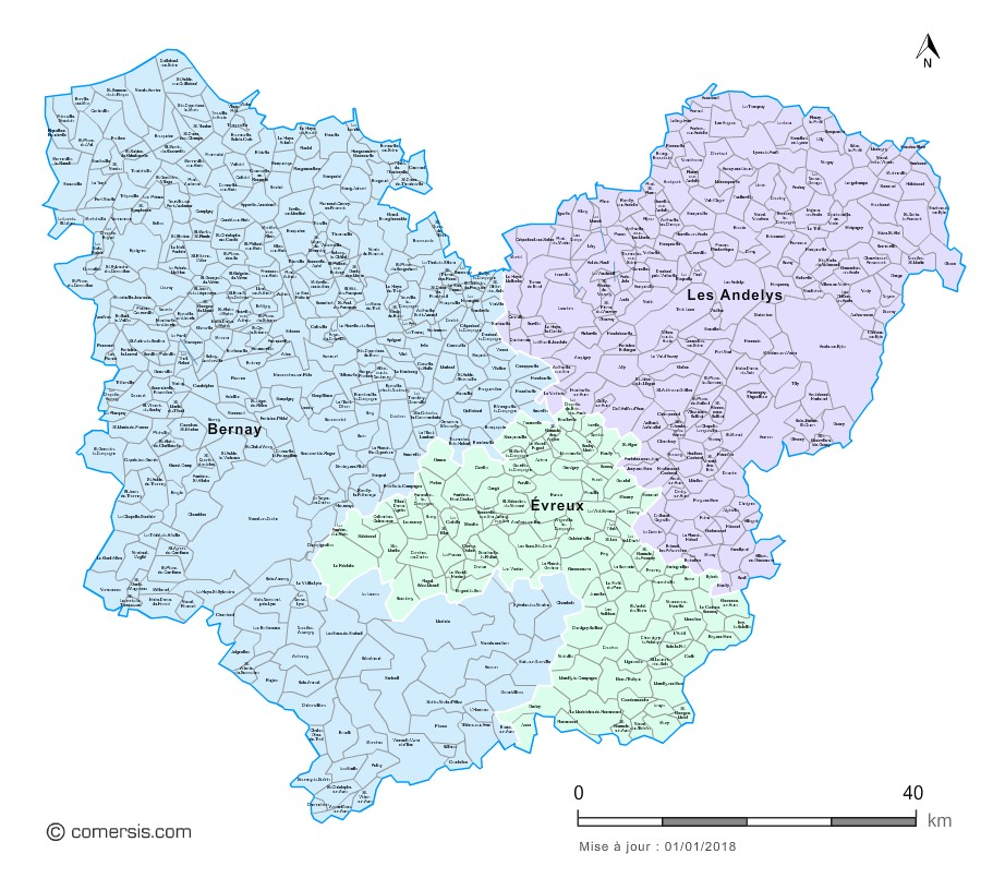 Carte des nouveaux arrondissements de l'Eure avec communes