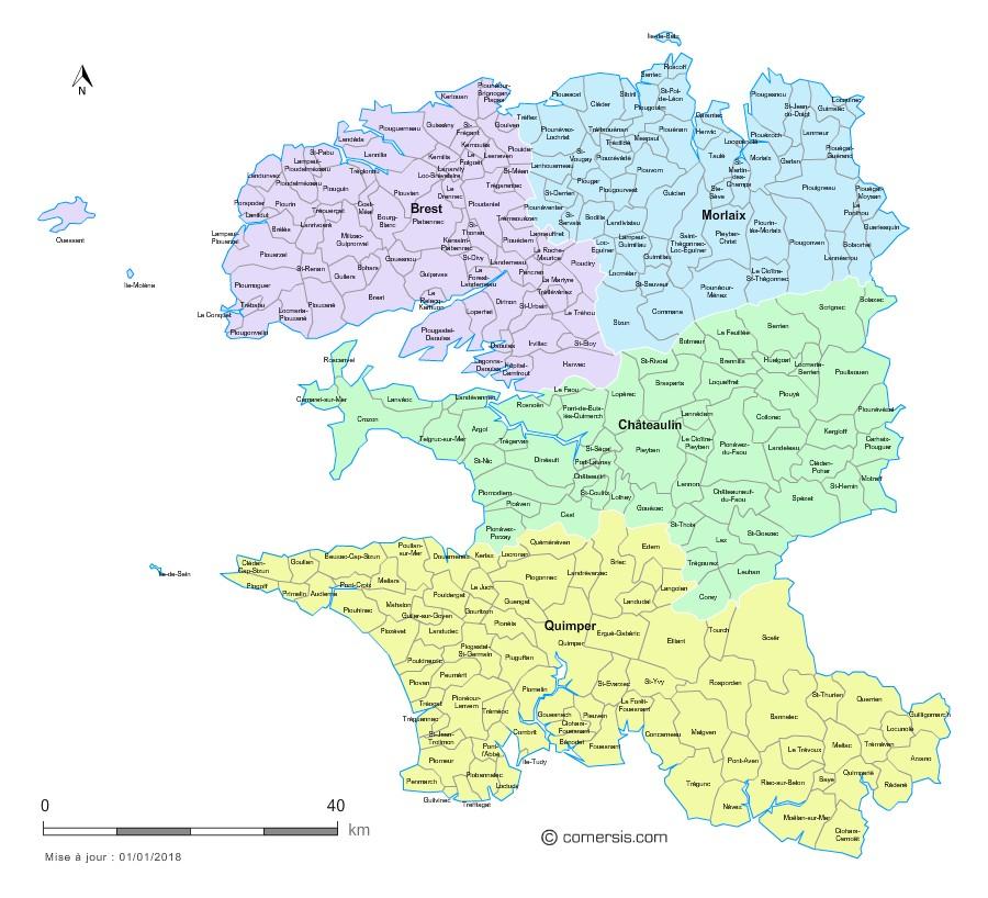 Carte des nouveaux arrondissements du Finistère avec villes et