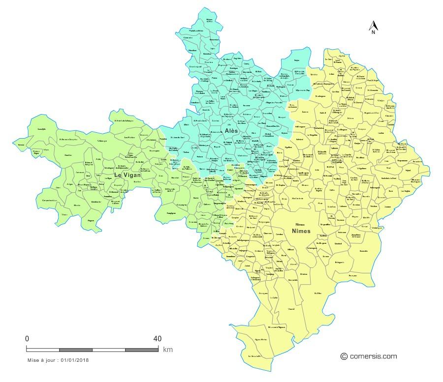 Communes et arrondissements 2018 du Gard