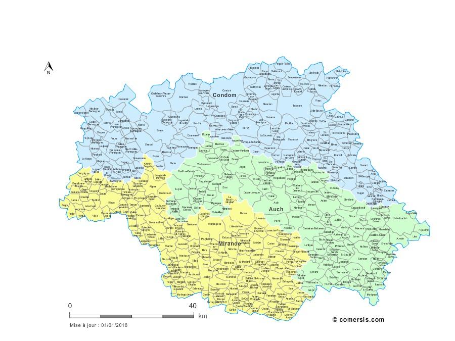 Communes et arrondissements 2018 du Gers