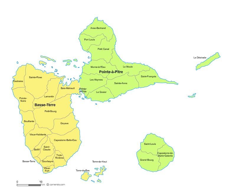 Communes et arrondissements 2018 de la Guadeloupe