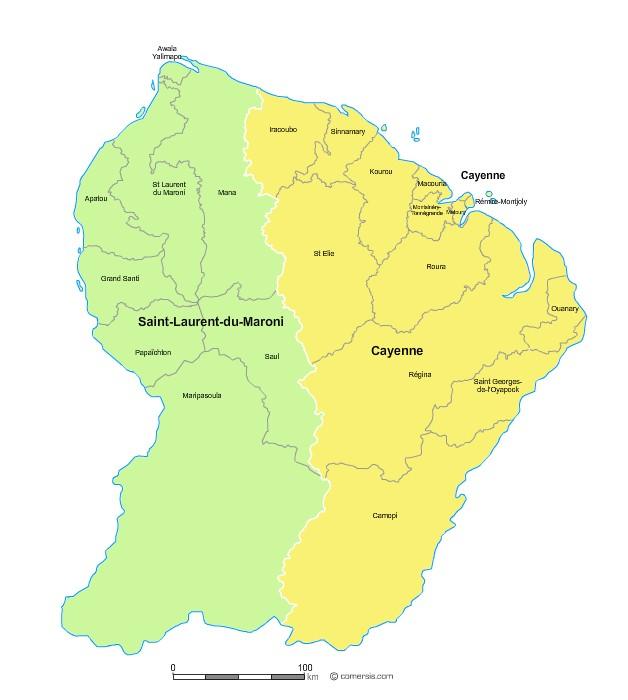 Communes et arrondissements 2018 de la Guyane