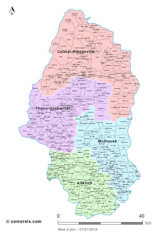 Carte des nouveaux arrondissements du Haut-Rhin avec communes