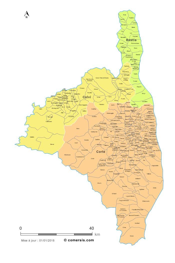 Carte des nouveaux arrondissements de la Haute-Corse avec communes