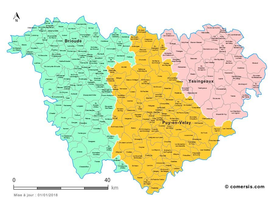 carte de la haute loire avec les communes Carte des nouveaux arrondissements de la Haute Loire avec villes