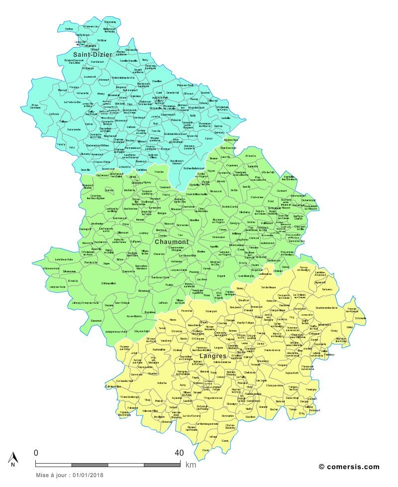Carte des nouveaux arrondissements de la Haute-Marne avec communes