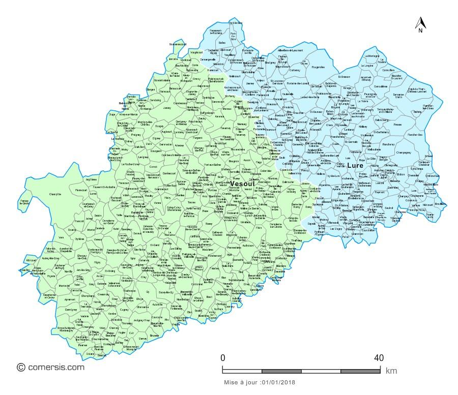 Carte des nouveaux arrondissements de la Haute-Saône avec communes